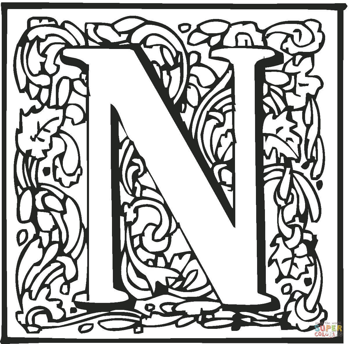 Letter N With Ornament Coloring Page