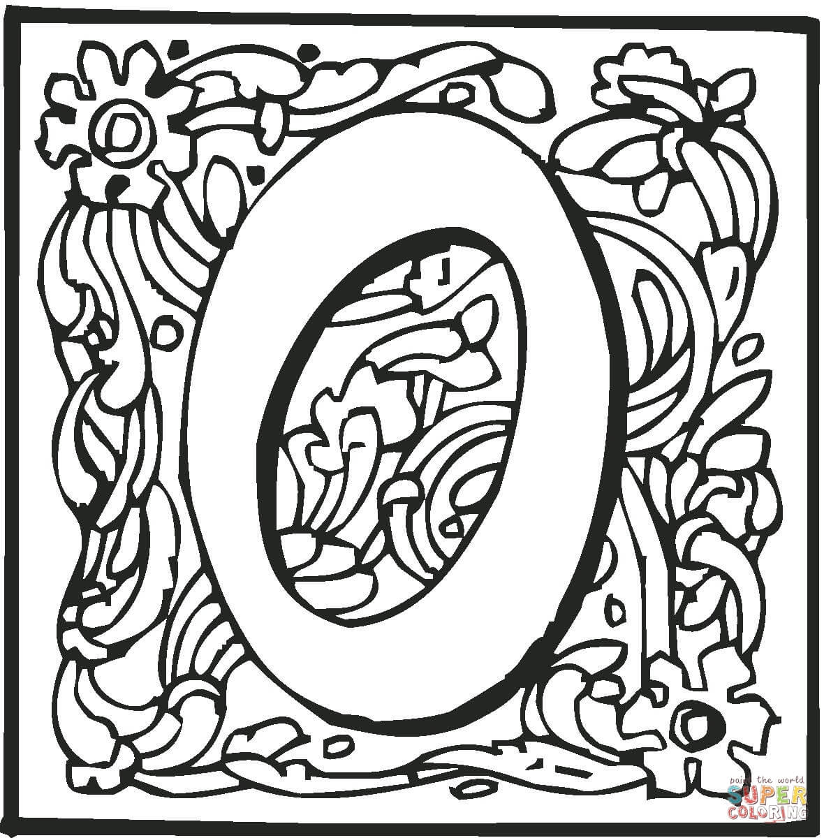 Letter O With Ornament Coloring Page