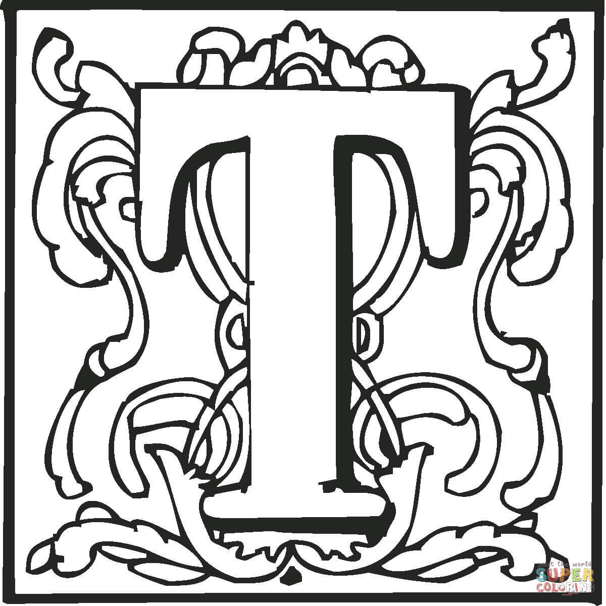 Letter T With Ornament Coloring Page