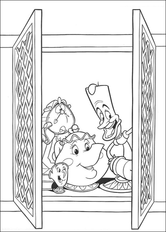 Cogsworth Lumire And Mrs Potts At The Window Coloring