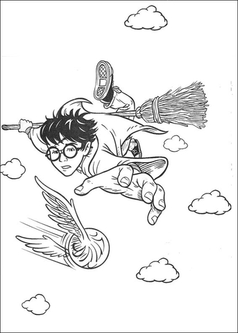 The Quidditch Game Coloring Page Free Printable Coloring