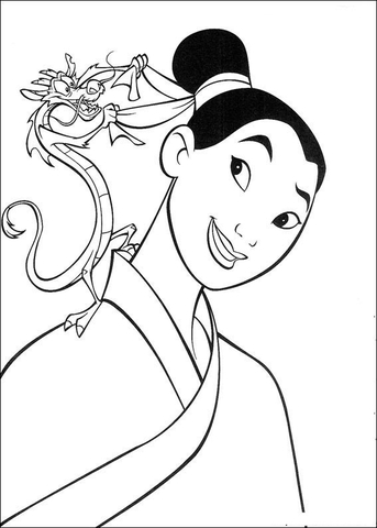 Mushu Helps Mulan Coloring Page Free Printable Coloring Pages