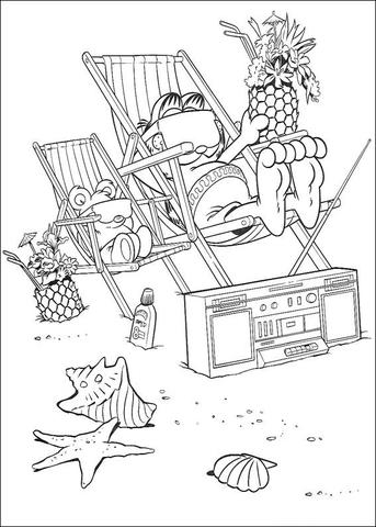 Ausmalbild Garfield Mit Kokosnuss Am Strand