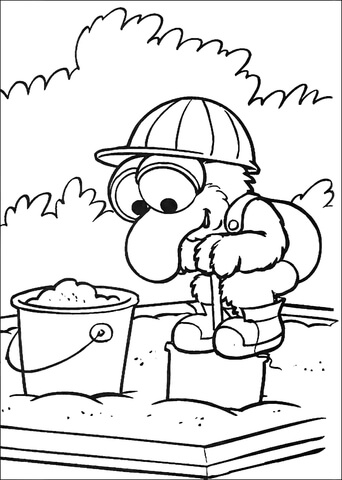 Baby Gonzo Is Playing On A Sandbox Coloring Page Free Printable Coloring Pages