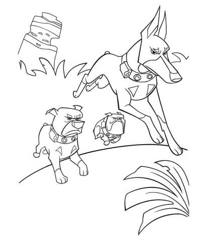 Dogs Are Attacking Coloring Page Free Printable Coloring