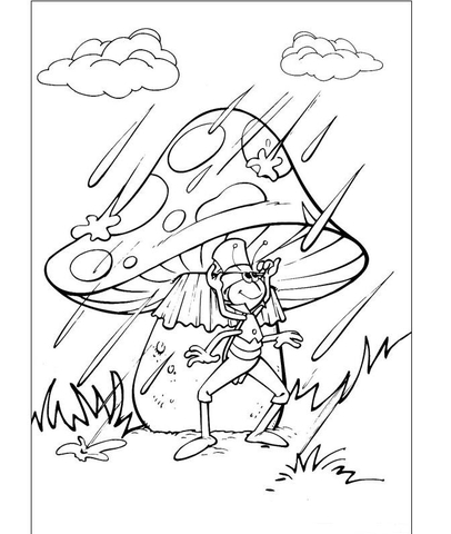 Flip Under The Mushroom In The Rain Coloring Page Free