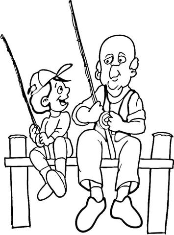 Dibujo De Pesca De Padre E Hijo Para Colorear Dibujos