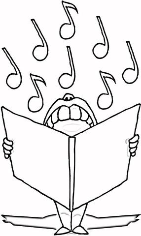 Coloriage Chanteur Avec Partition Coloriages