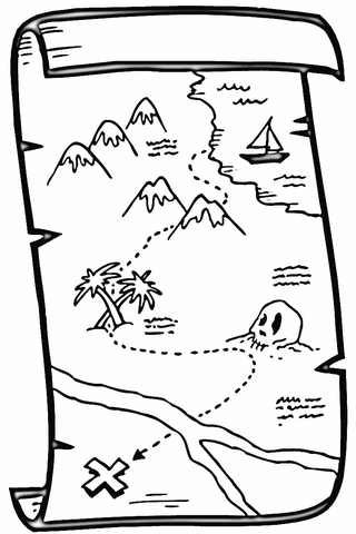 treasure map coloring pages # 12