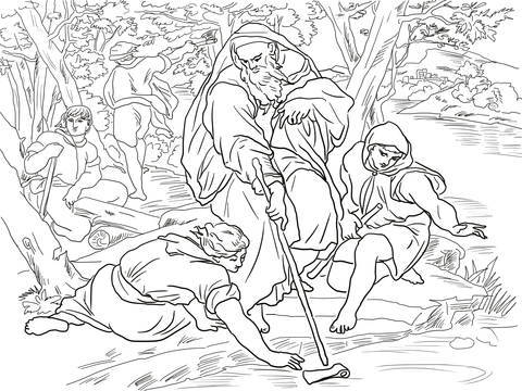 Click to see printable version of Elisha and the Floating Axe Coloring page
