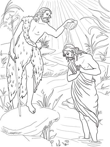 Ausmalbild Jesus Taufe Durch Johannes Den Tufer