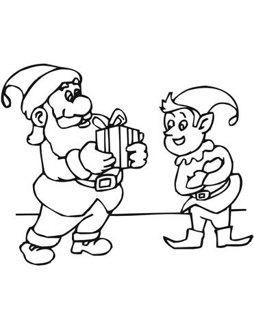 Disegno Di Elfo Di Natale E Babbo Natale Da Colorare