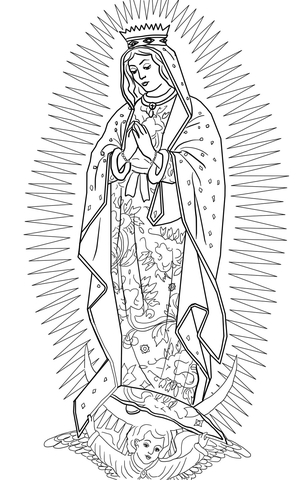 our lady of guadalupe coloring page # 3