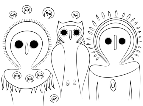 Aboriginal Owls Coloring Page Free Printable Coloring Pages