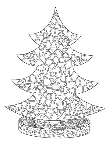 Christmas Tree Mosaic Coloring Page Free Printable