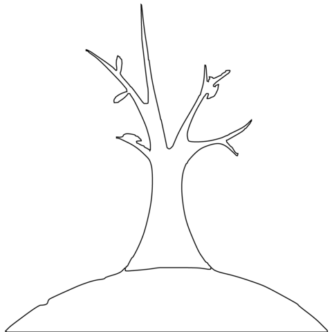 葉が落ちた木 ぬりえ