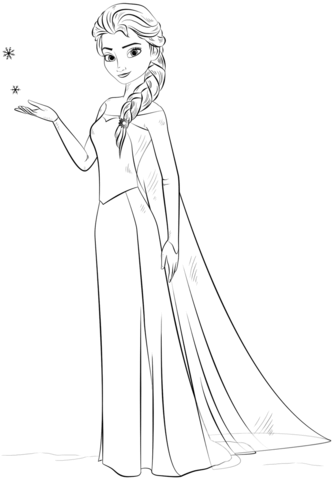Elsa From The Frozen Coloring Page Free Printable Coloring Pages