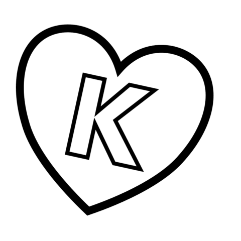 Letter K In Heart Coloring Page Free Printable Coloring