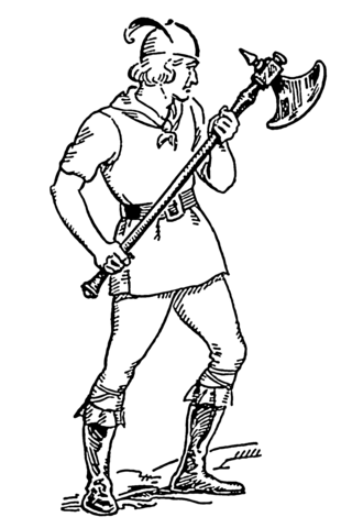 Man Holding A Battle Axe Coloring Page Free Printable