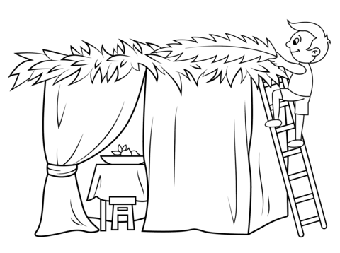 Boy Builds A Sukkah Coloring Page Free Printable