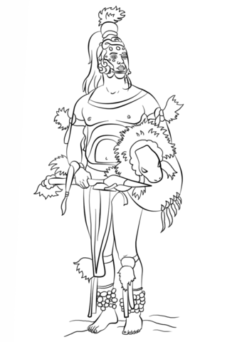 Mayan Warrior Coloring Page Free Printable Coloring Pages