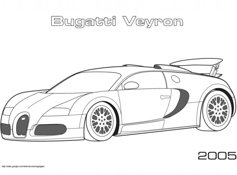 Desenhos de bugatti para colorir. 2005 Bugatti Veyron coloring page | Free Printable
