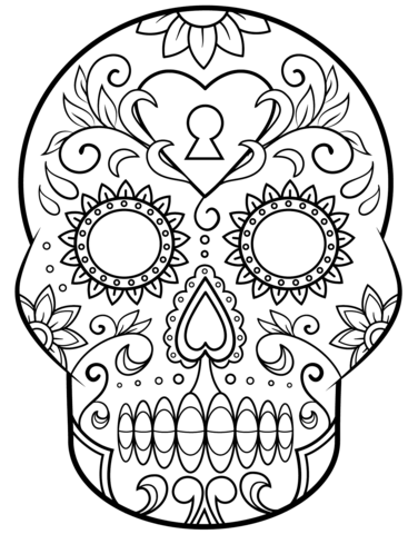 Day Of The Dead Sugar Skull Coloring Page Free Printable Coloring Pages