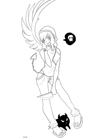 Gaia Anime Devil Girl Character Coloring Page Free