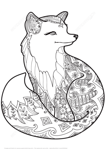Zentangle Fox Coloring Page Free Printable Coloring Pages
