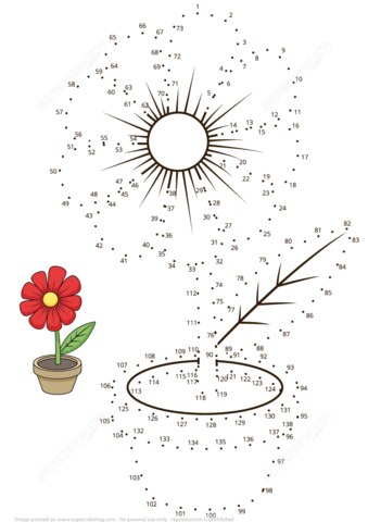 Flower Pot Dot To Dot Free Printable Coloring Pages