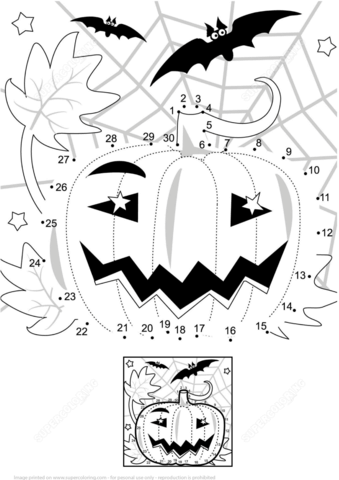 Halloween Night Scene With Pumpkin Bats And Spiderweb Dot