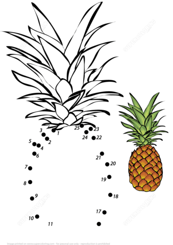 Pineapple Fruit Dot To Dot Free Printable Coloring Pages