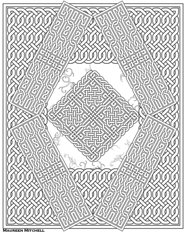 Celtic Knot Pattern Coloring Page Free Printable