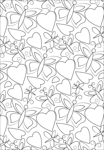 Hearts And Butterflies Pattern Coloring Page Free