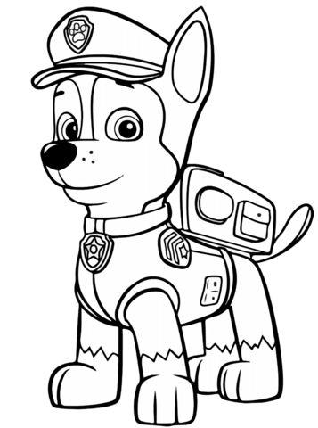 Paw Patrol Chase Coloring Page Free Printable Coloring Pages