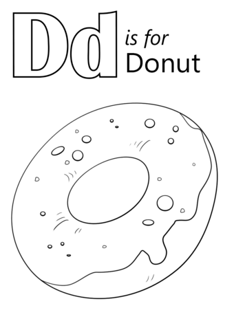 Letter D Is For Donut Coloring Page Free Printable