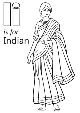 Letter I Is For Indian Coloring Page Free Printable
