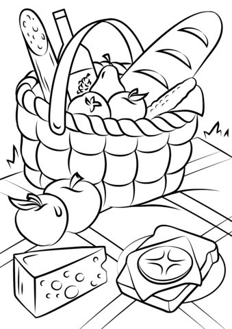 Picnic Basket Food Coloring Page Free Printable Coloring Pages