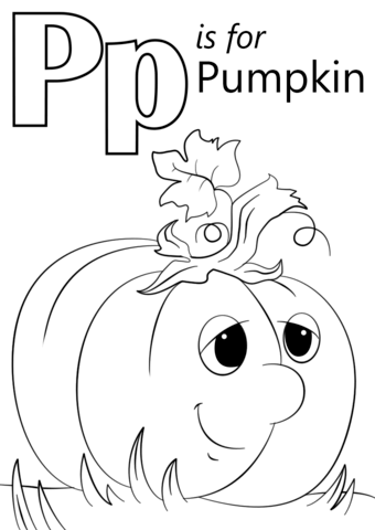 Letter P Is For Pumpkin Coloring Page Free Printable