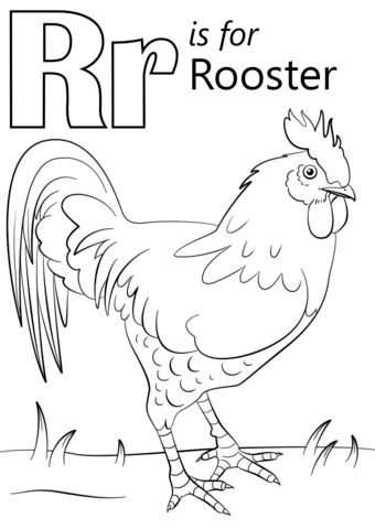 Letter R Is For Rooster Coloring Page Free Printable