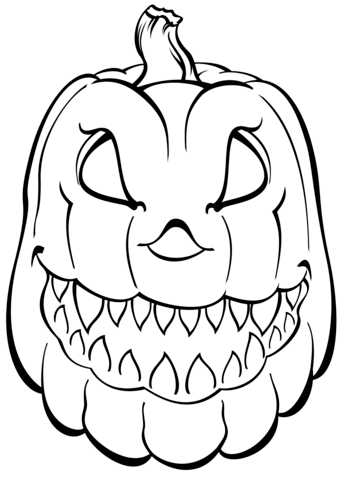 Scary Pumpkin Coloring Page Free Printable Coloring Pages