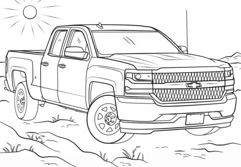 Click To See Printable Version Of 2017 Chevy Silverado Double Cab Coloring Page