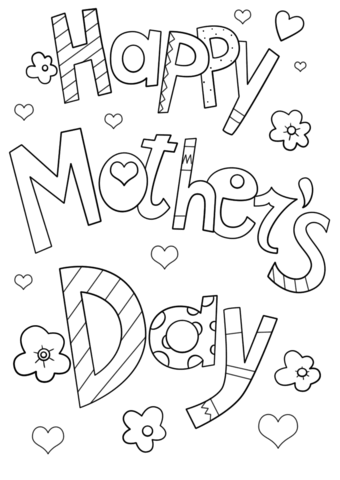 Happy Mother S Day Doodle Coloring Page Free Printable Coloring Pages