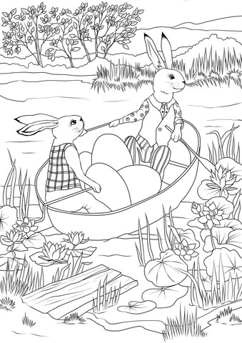Rabbits In A Boat With Easter Eggs Coloring Page Free