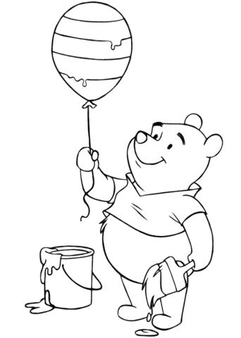 Winnie The Pooh With Easter Balloon Coloring Page Free