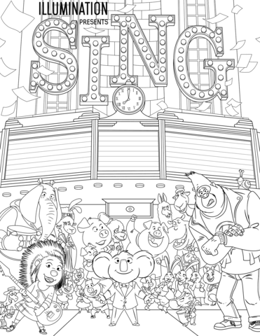 All Characters From Sing Coloring Page Free Printable