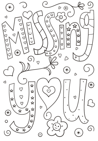 Missing You Doodle Coloring Page Free Printable Coloring