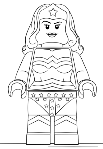 Lego Wonder Woman Coloring Page Free Printable Coloring Pages
