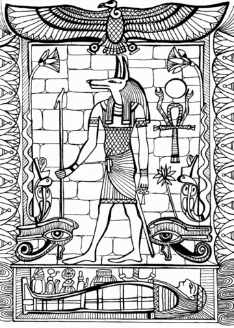 Anubis God Of Ancient Egypt Coloring Page Free