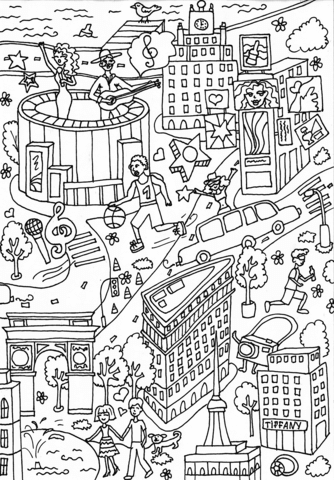 Madison Square Garden And Times Square Coloring Page